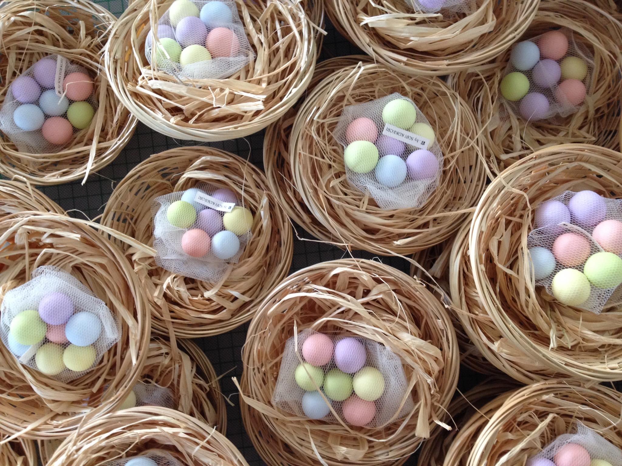 Cute Birds' Nest-baptism favors-work in progress