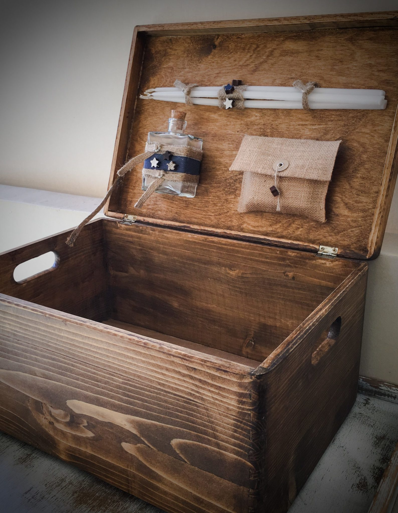 Denim Christening-baptism box-inside