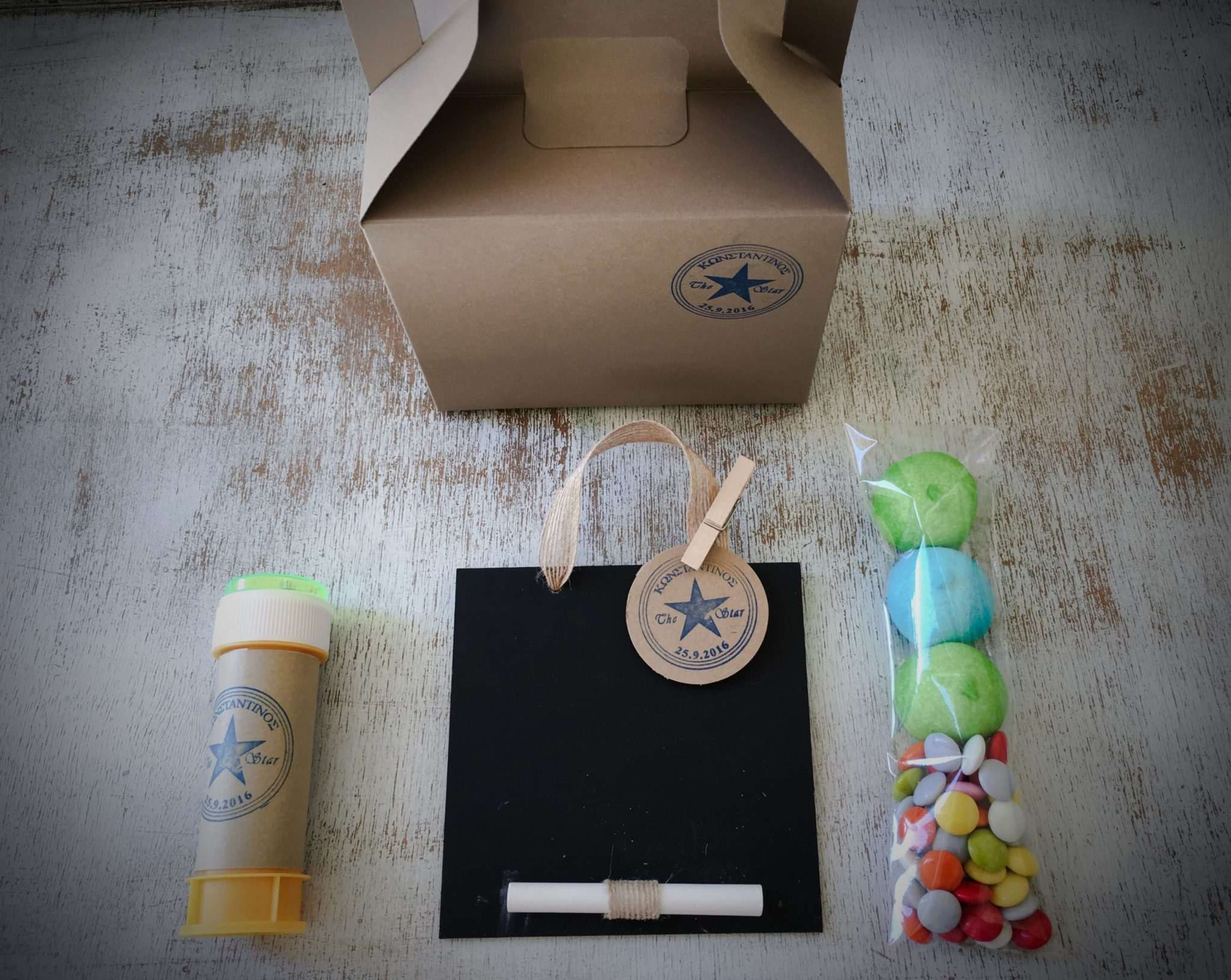 Denim Christening-baptism kids gift box-content