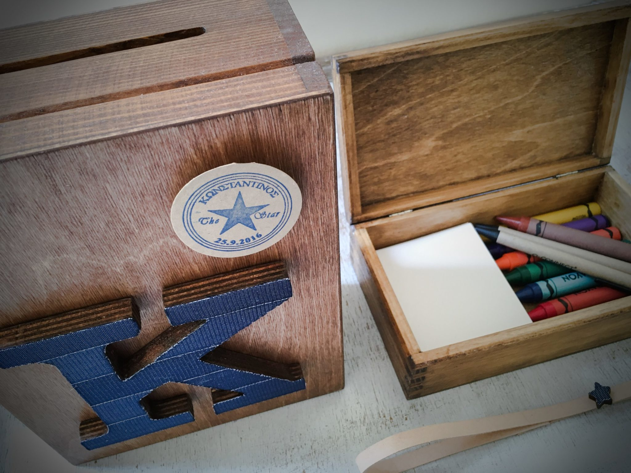 Denim Christening-baptism wish box-content--kids activity