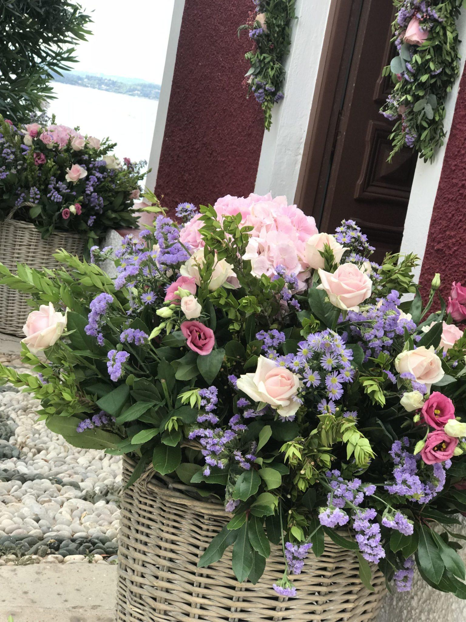 Lilac blossoms-baptism-church florals