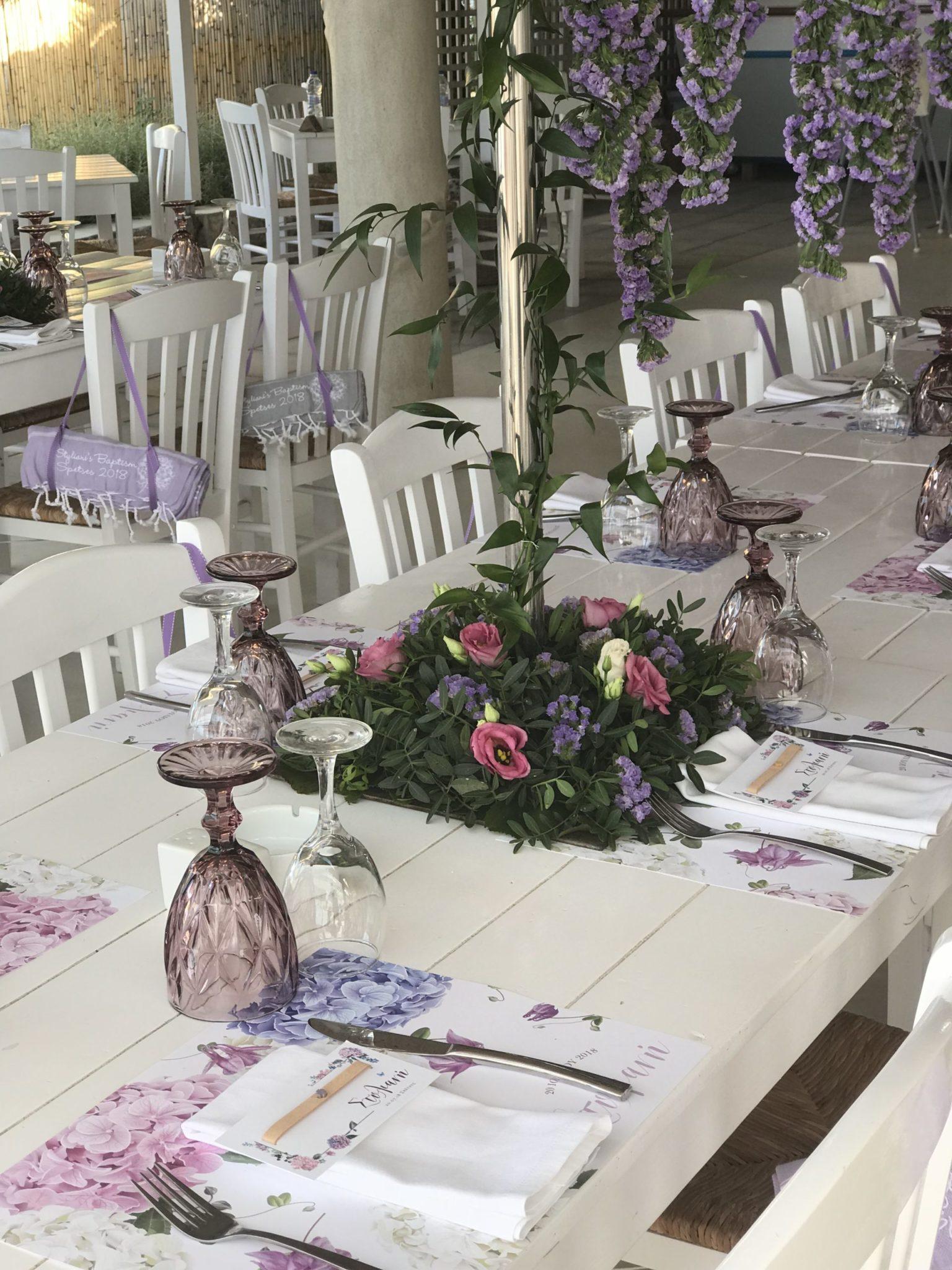 Lilac blossoms-baptism-venue set up