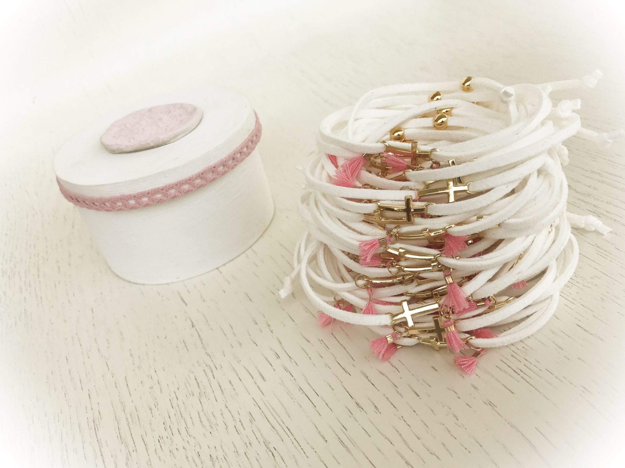 Pink Ornaments...Made Of Clay-baptism-witness bracelets-box
