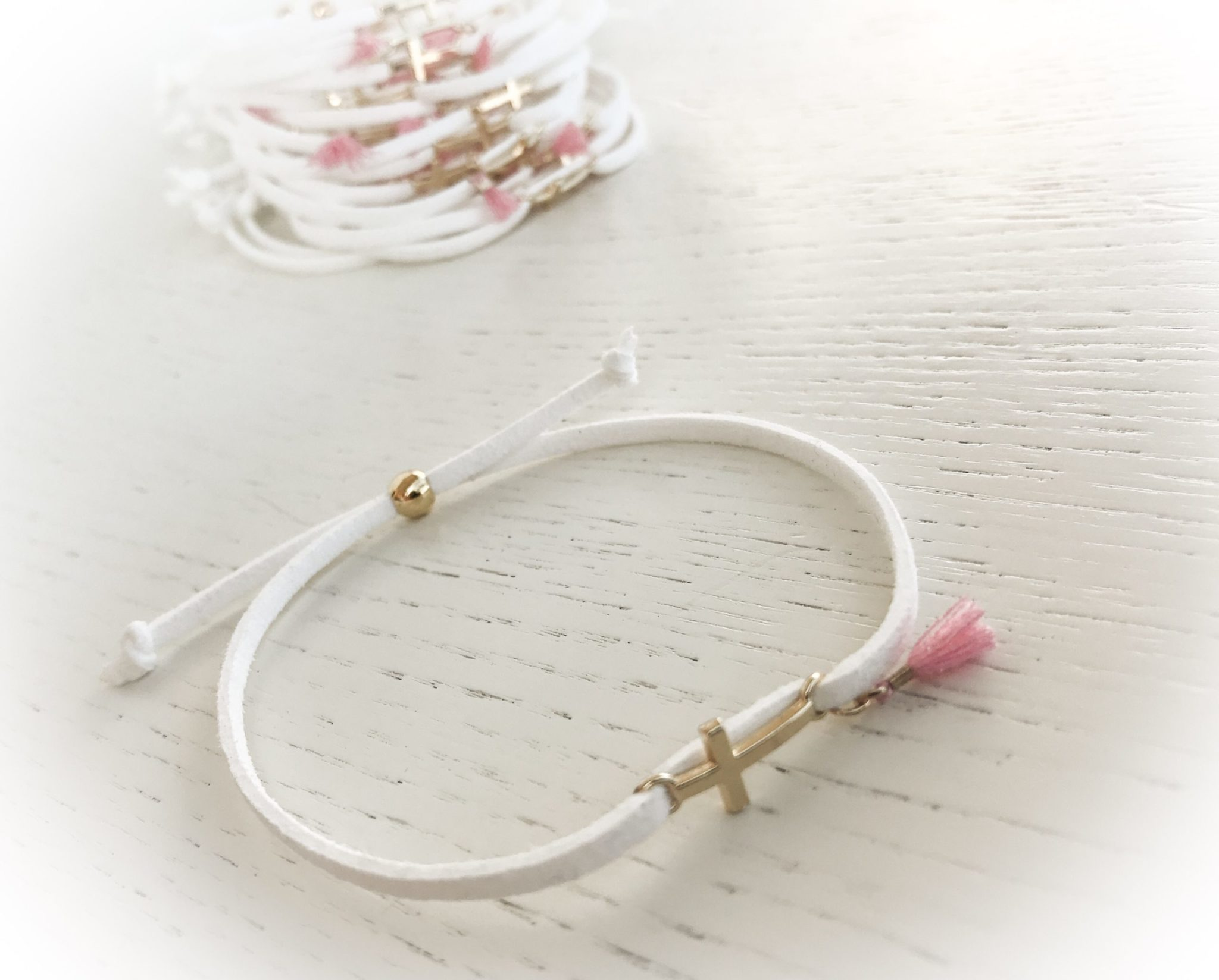 Pink Ornaments...Made Of Clay-baptism-witness bracelets