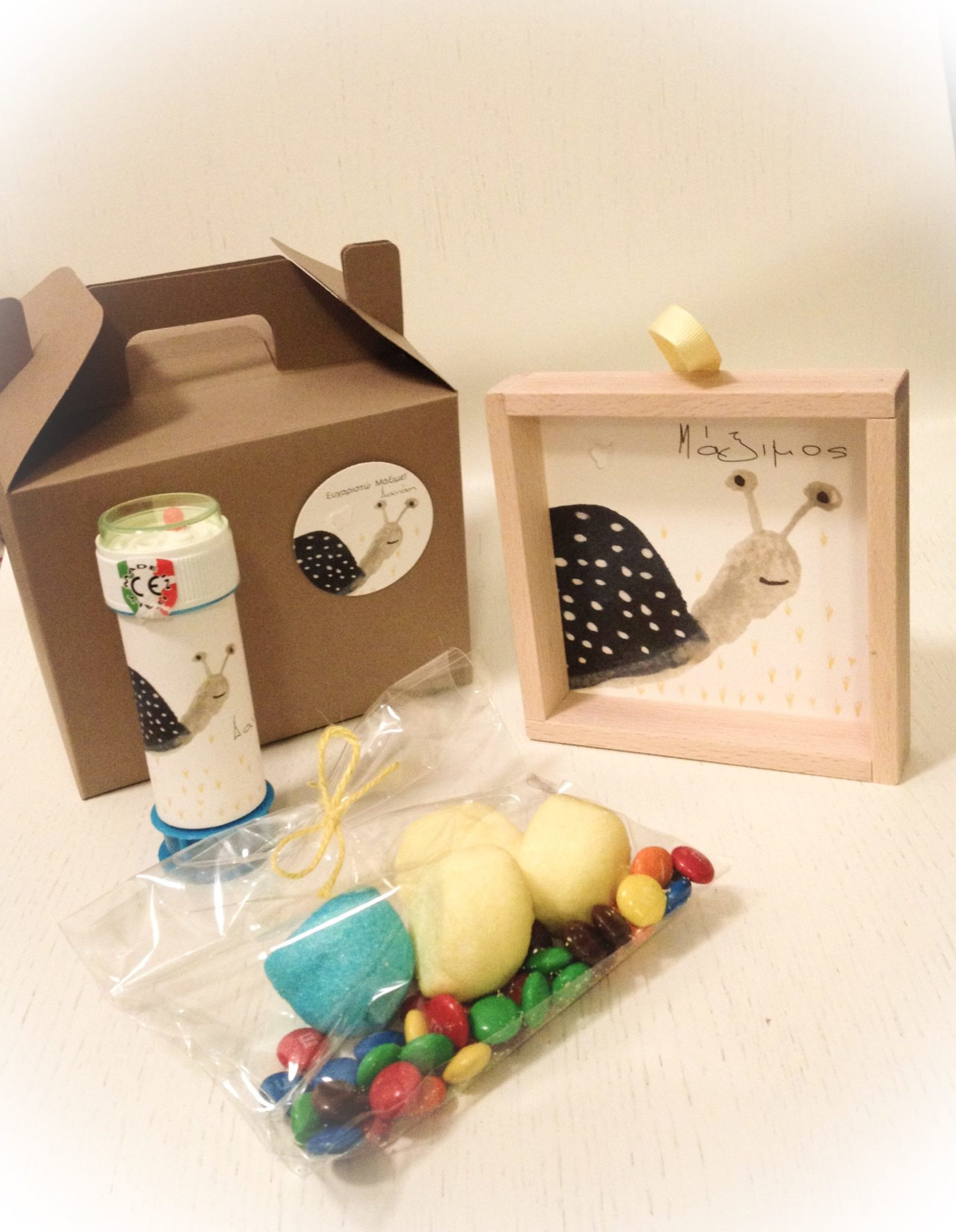 Snails And Butterflies-baptism gift box-contents