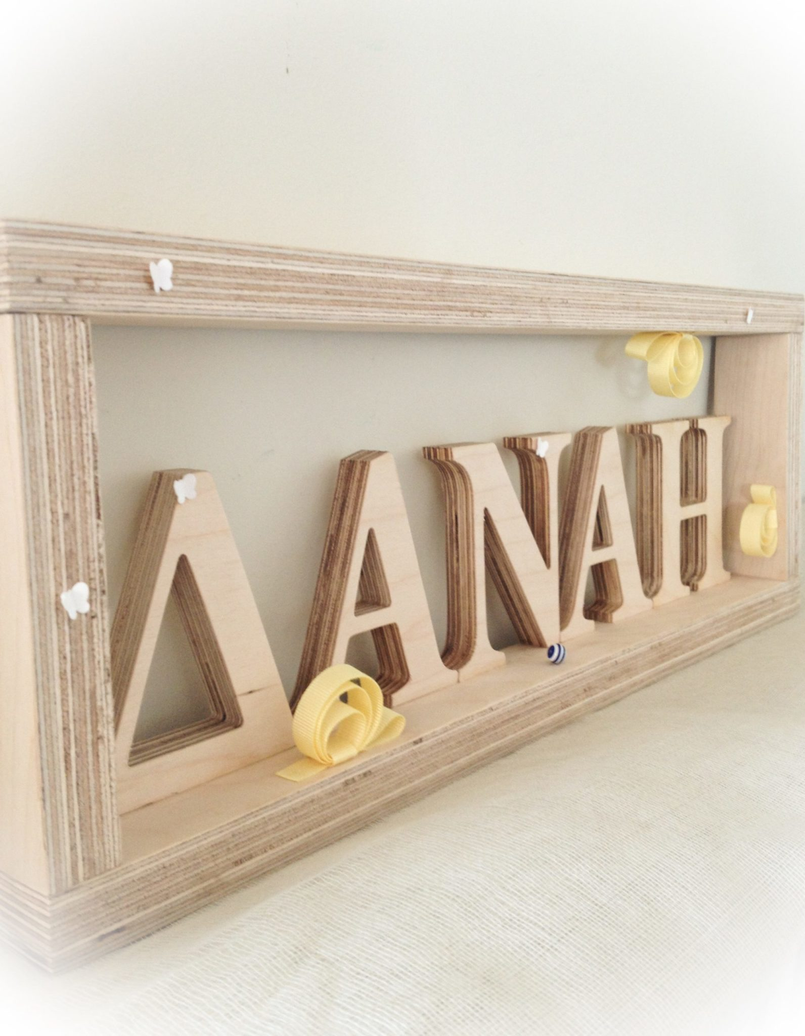Snails And Butterflies-baptism-name board-closeup
