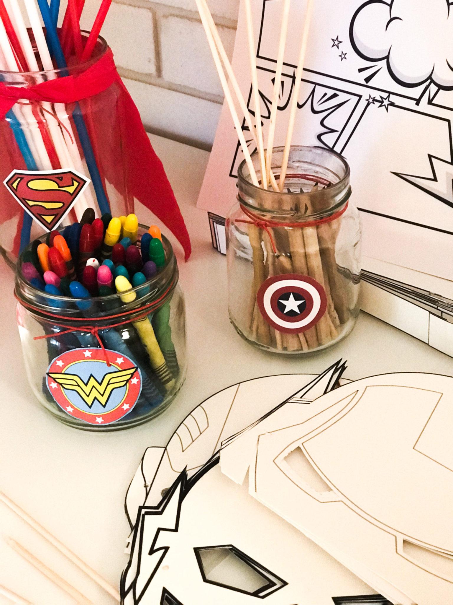 Super Heroes-party-kids activity-color set