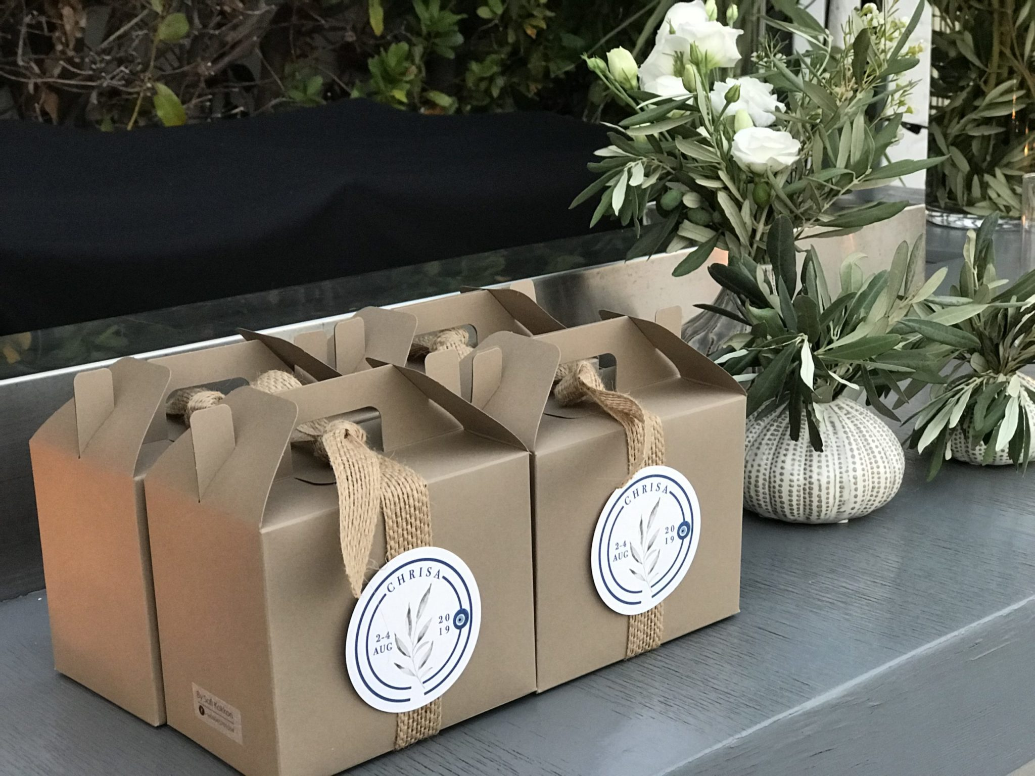 Totally Greek-party gift boxes-set up-close up