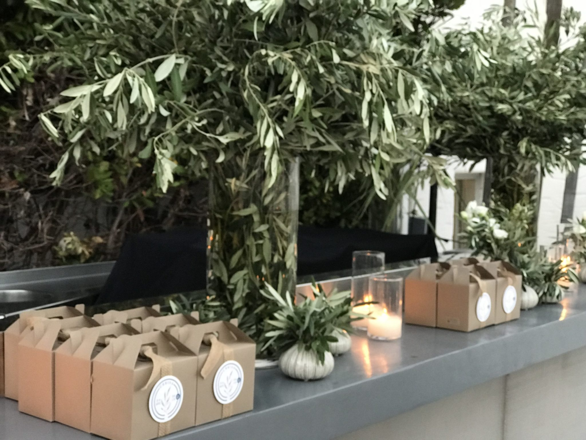 Totally Greek-party gift boxes-set up