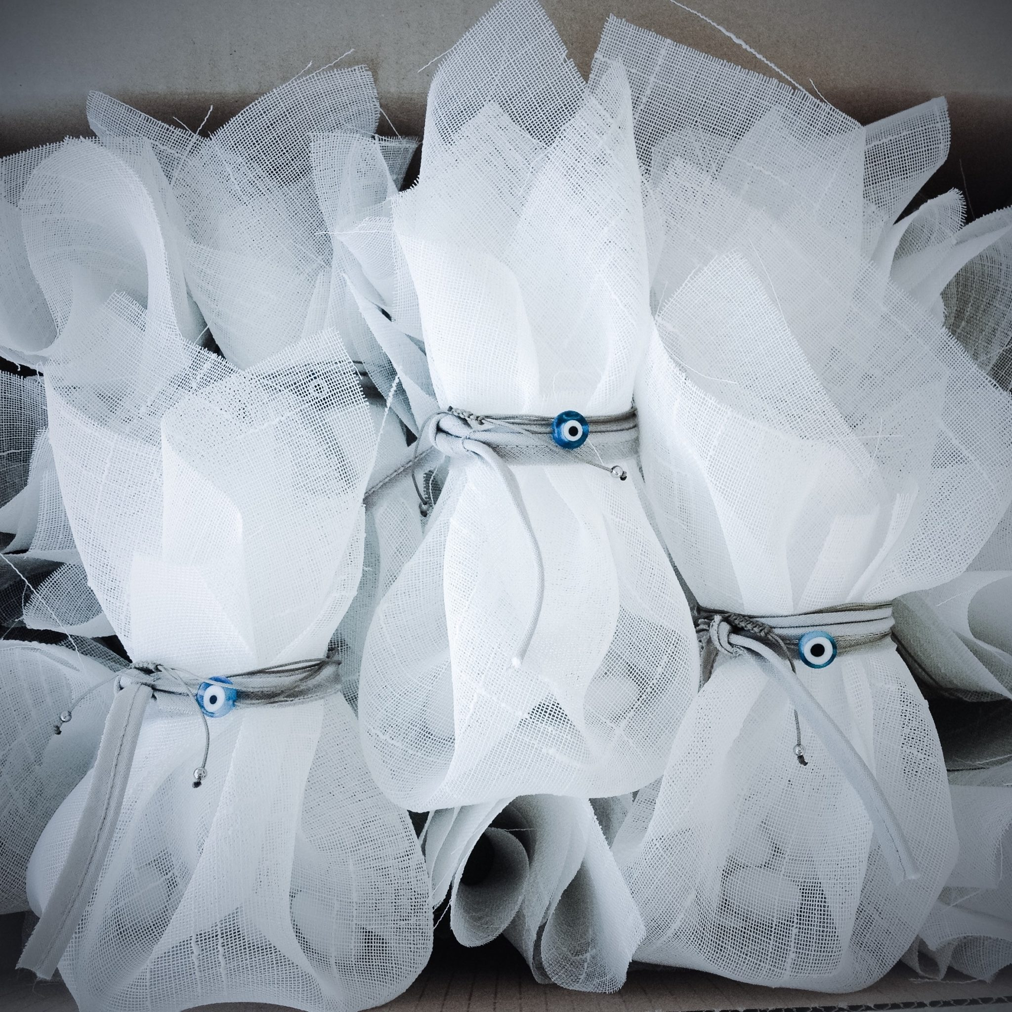 White Linen And Evil Eye-wedding favors-proposal a-bw
