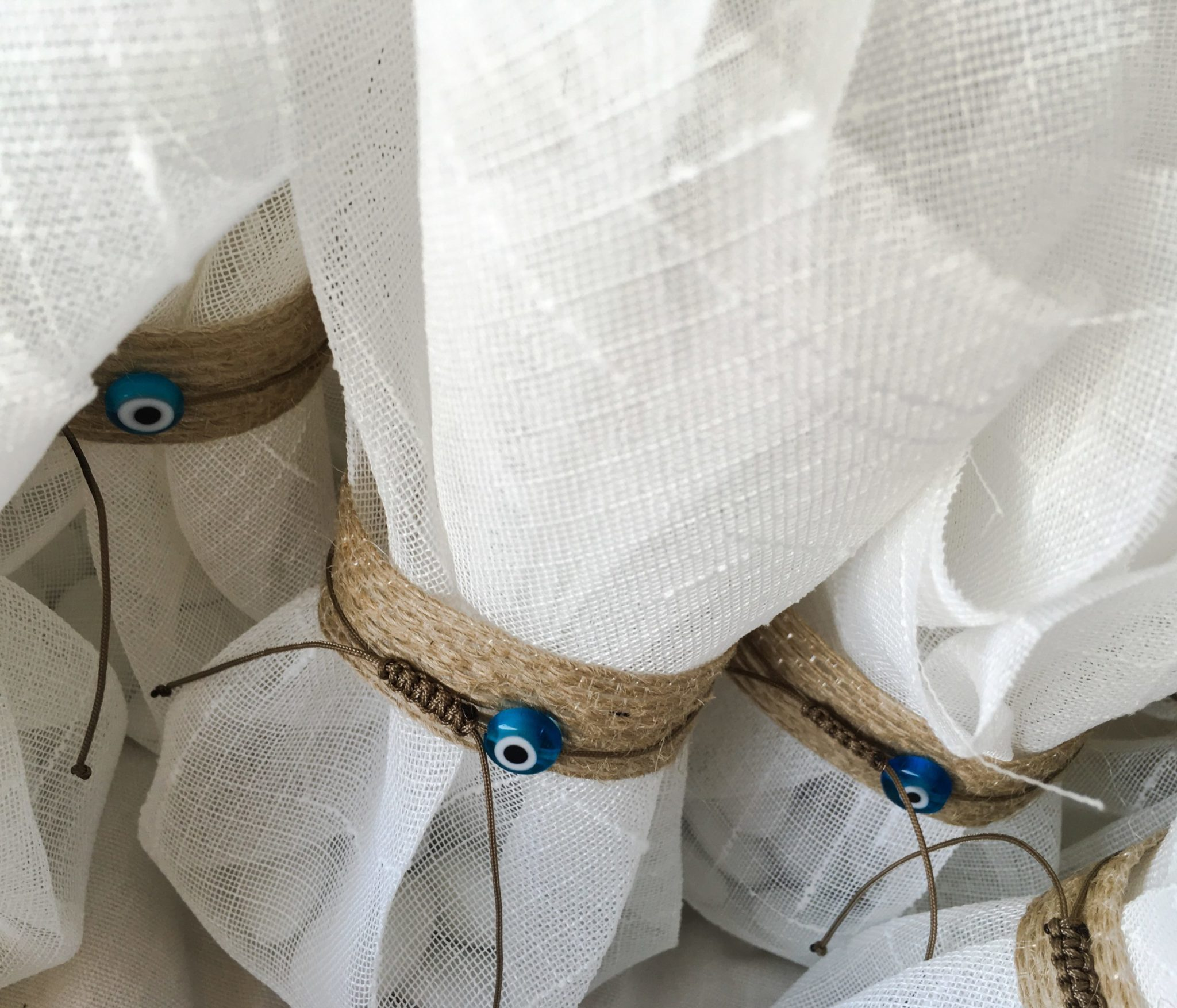 White Linen And Evil Eye-wedding favors-proposal b-work in progress