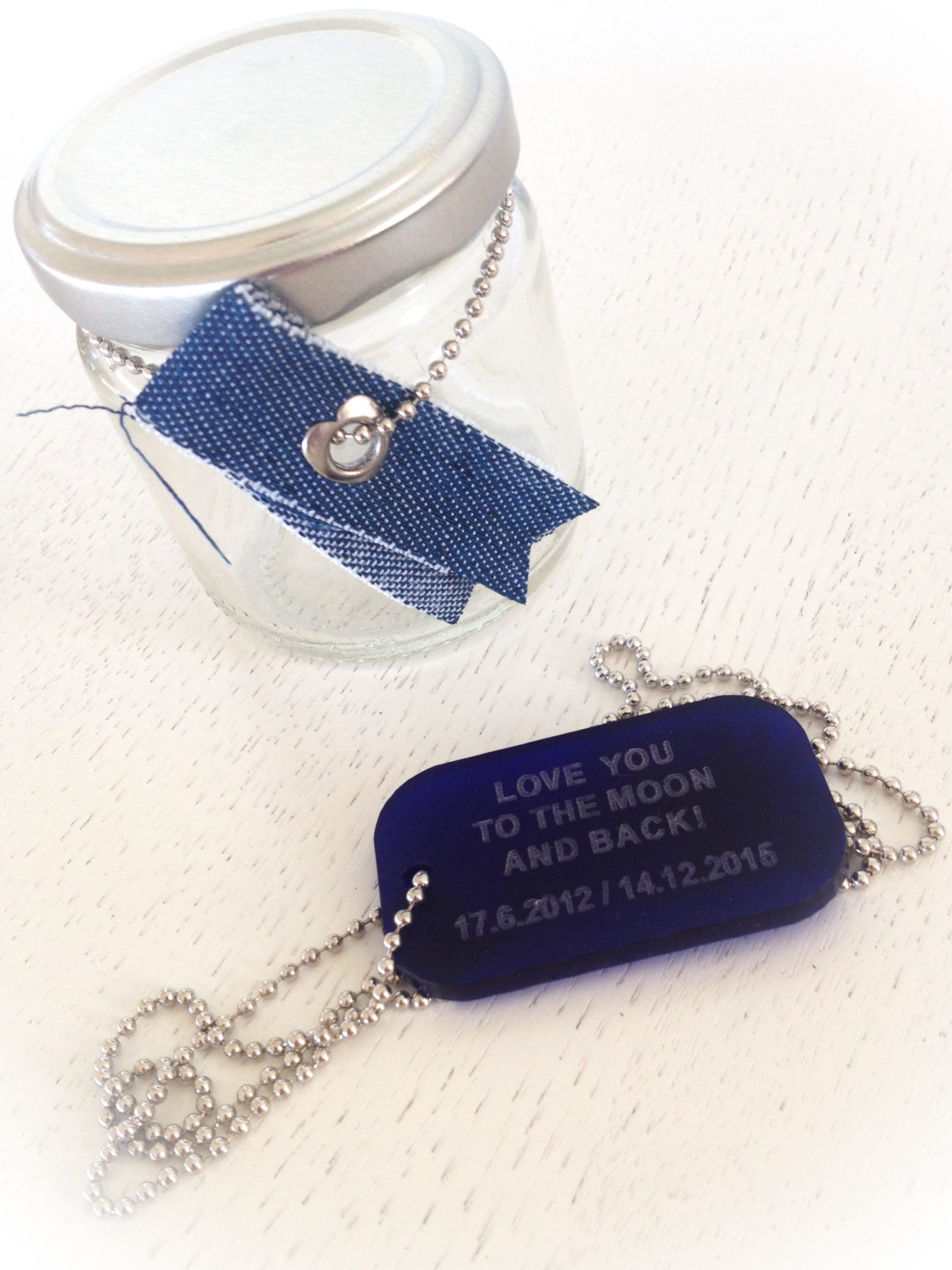 "Your ""Love"" Id-special occasion-blue plexi tag-necklace"