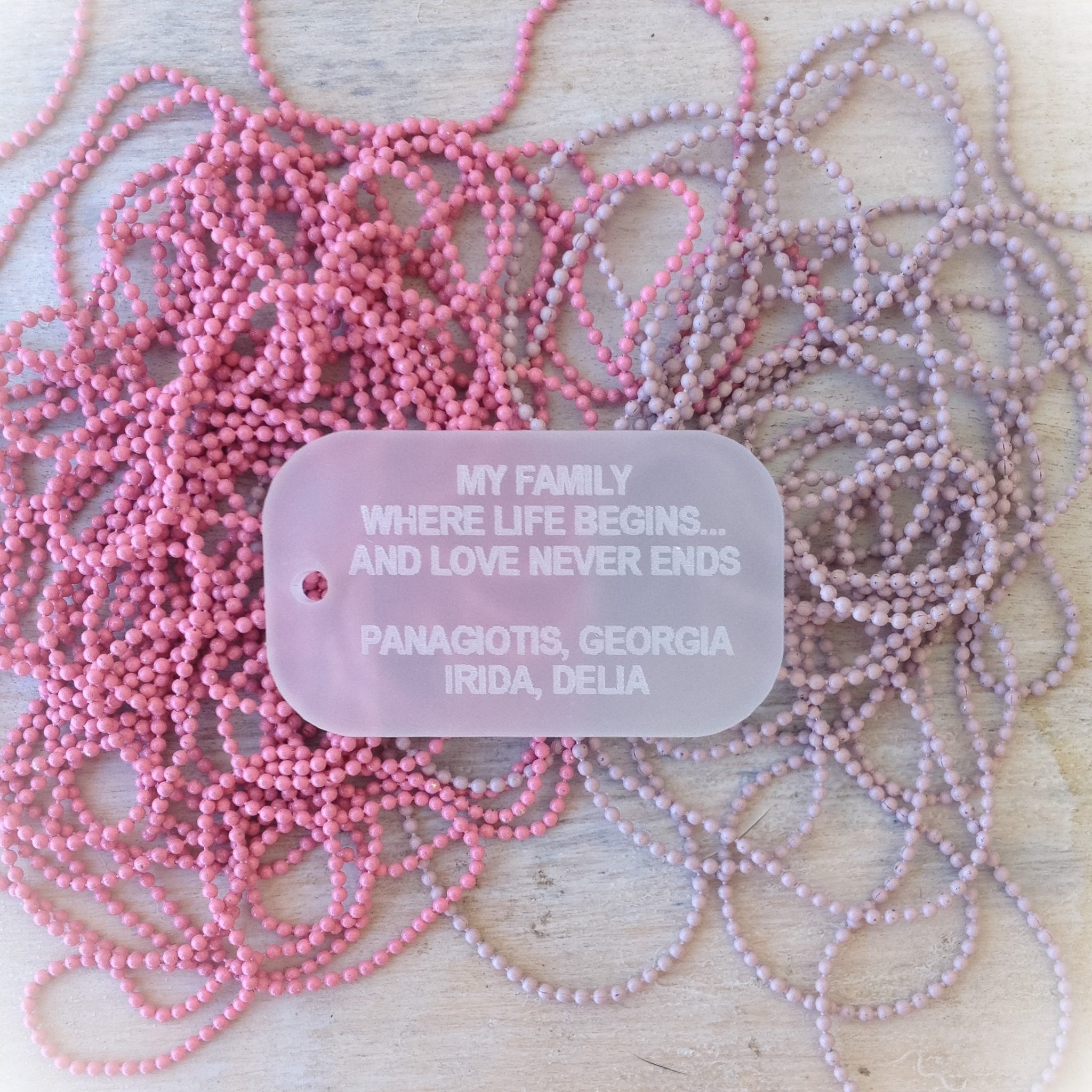 """Your """"Love"""" Id-special occasion-plexi tag necklace-chain color choice"""